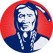 Native american indian chief facing front — Photo