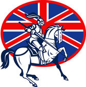 Knight on horse with lance and British flag — Stock Photo