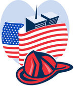 American flag with twin tower building firefighter helmet — Stock Photo