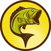 Largemouth Bass fish jumping — Stock Photo