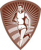 Marathon athlete sports runner shield — Stock Photo