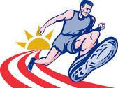 Marathon runner on track — Stock Photo