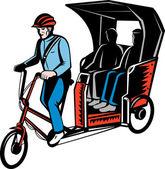 Riksza cyklu z kierowcy i pasażera — Zdjęcie stockowe
