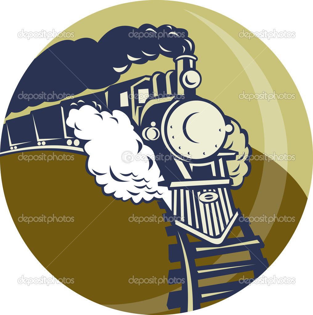 Illustration of a Steam train or locomotive coming up set inside a circle — Stock Photo #4222627