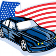 American muscle car with flag - Stock Photo