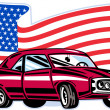 ������, ������: American muscle car with flag