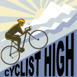Cyclist racing bike up steep mountain - Stock Photo