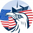 Stock Photo: American eagle flag and twin tower building