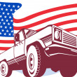American Pickup truck with flag stars and stripes — Stock Photo