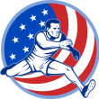 Track and field athlete jumping stars and stripes — Stock Photo #4336260
