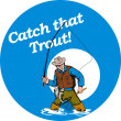 Fly fisherman fishing catching trout fish rod reel — Stock Photo #4336323