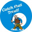 Fly fisherman fishing catching trout fish rod reel — Stock Photo