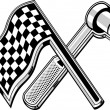 Checkered flag socket wrench crossed — Stock Photo