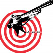 Hunter aiming rifle shotgun bulls eye high angle - Foto de Stock