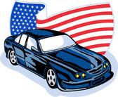 Coche americano del músculo con la bandera — Foto de Stock