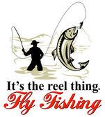 Mouche truite pêche pêcheur avec moulinet mouche — Photo