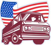 1950's styled station wagon with american flag — Stock Photo