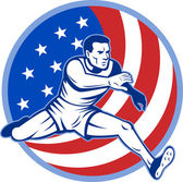 Track and field athlete jumping stars and stripes — Stock Photo