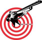 Hunter aiming rifle shotgun bulls eye high angle — Stock Photo