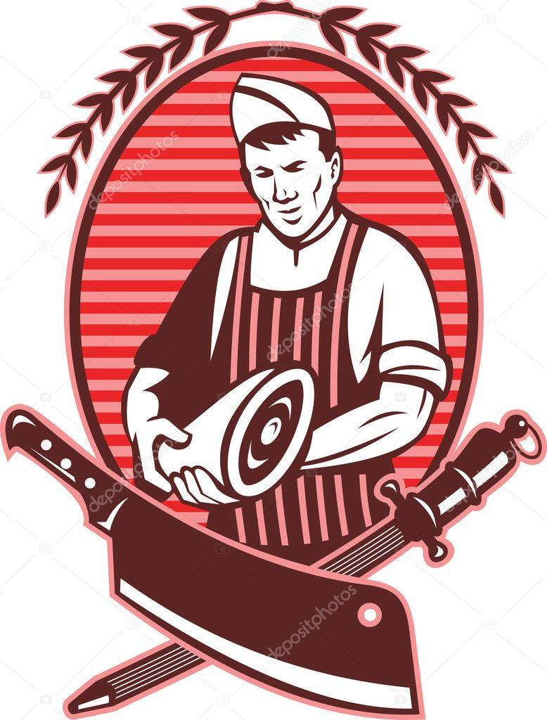 Illustration of a Butcher holding leg of pork meat with butcher's knife and sharpening tool in foreground — Stock Photo #4336269