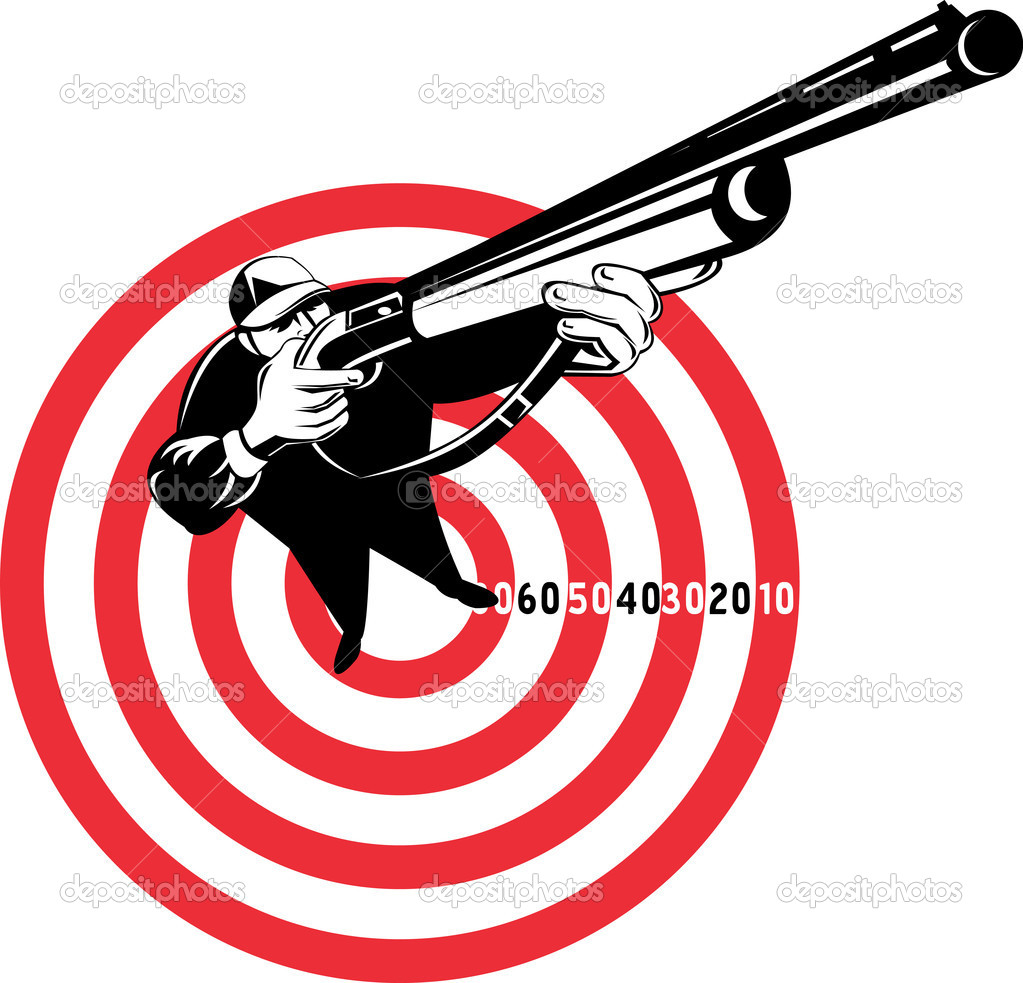Graphic design illustration of a Hunter aiming rifle shotgun with bulls eye in background viewed from a high angle  Stock Photo #4336358