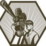 Vintage movie television film camera director — Stock Photo