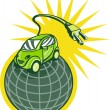 Green electric car on top of world with plug — Stock Photo #4357719