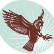 Stock Photo: Owl swooping woodcut style