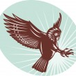 Owl swooping woodcut style — Stock Photo #4357900