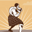 Scot scotsman throwing weight stone put — Stock Photo
