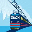 Electric passenger train city skyline — Stock Photo