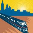 Speeding passenger train city skyline — Stock Photo