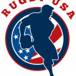 Rugby player flag united states of america — Stock Photo