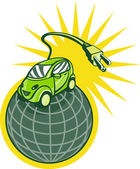 Green electric car on top of world with plug — Stock Photo