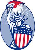 Statue of liberty with torch and shield — Stock Photo