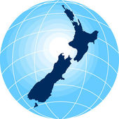 Map of New Zealand with globe in background — Stock Photo
