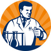 Scientist with laboratory apparatus test tube — Stock Photo
