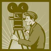Vintage movie television film camera director — Stock Photo