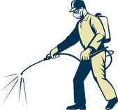 Pest control exterminator spraying side view — Stock Photo