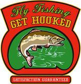 Pstruh ryba skákání s jezerem — Stock fotografie