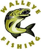Walleye fish jumping Sander vitreus — Stock Photo