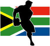 Rugby player running with ball south africa flag — Stock Photo