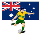 Rugby player kicking australia flag — Stock Photo