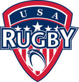 Rugby ball shield usa flag stars and stripes — Stock Photo