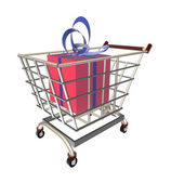 Gift in a shopping cart — Stock Photo