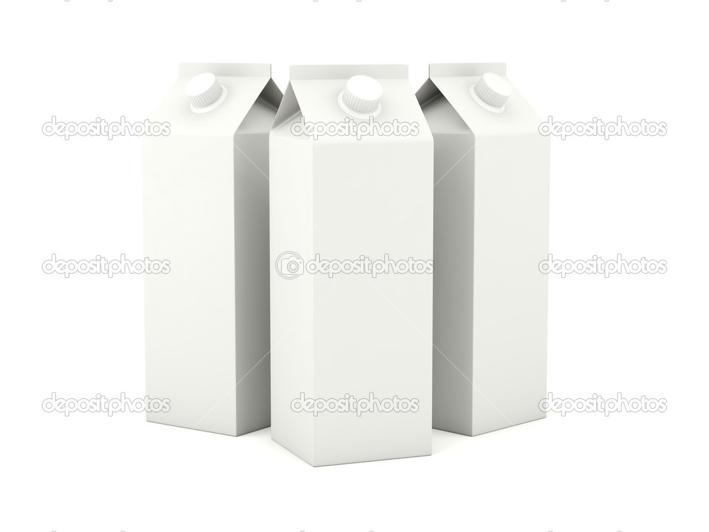 Milk cartons isolated on white background — Foto Stock #5311771