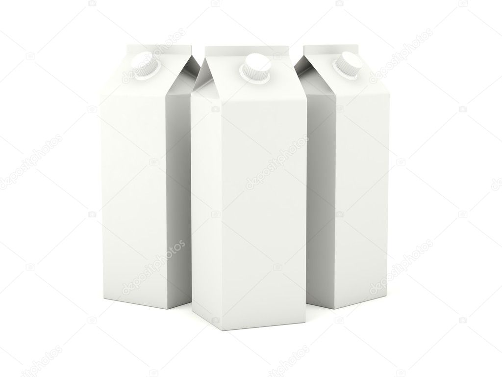 Milk cartons isolated on white background — 图库照片 #5311771