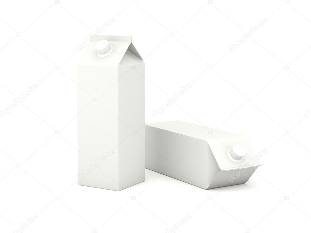 Milk cartons isolated on white background  Foto Stock #5323570