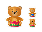 Teddy bear with drum icon set — Stock Vector