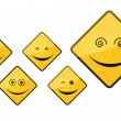 Stok fotoğraf: Smiley road sign icon set